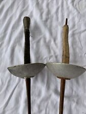 2 Pair Vintage French Fencing Foil Sword Epee Old Iron Leather Espada Esgrima