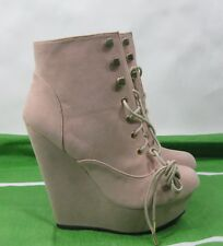 """NUDE 5""""high wedge heel 1.5""""platform round toe lace up sexy ankle boot.Size. 7"""