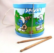 Vintage Smurf Metal Drum with Original Sticks