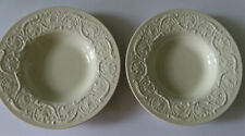 "2 Wedgwood Patrician Ivory 8 1/4"" Rimmed Soup Bowls - Mint"