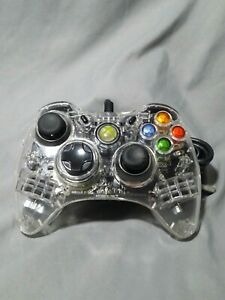 Afterglow PL-3702 Xbox 360 Clear blue LED Wired Controller Tested