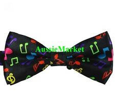 1 x mens girls bow tie bowtie necktie party music note satin shirt drums guitar