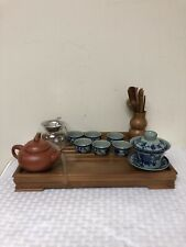 Vintage Tea Set Bamboo Drainage Tray Serving Utensils Pots Cups