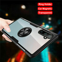 For Samsung Galaxy Note 10 Plus 9 Magnetic Ring Holder Transparent Case Cover