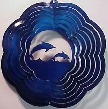 """Two Jumping Dolphins in Blue 10"""" Hanging Metal Wind Spinner Made Usa"""