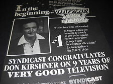 DON KIRSHNER In The Beginning there was ...ROCK CONCERT 1981 Promo Display Ad