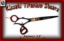 "Kissaki Left Hand Hair Scissors 5.5"" Gokatana L Black Red DOUBLE SWIVEL Shears"