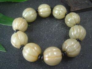 Chinese Antique Nephrite HETIAN jade bangle 10PIC Pumpkin BEADS Bracelets