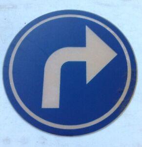 VINTAGE ORIGINAL FRENCH BELGIUM ROAD STREET SIGN PLASTIC BEND TURN DRIVING TEST
