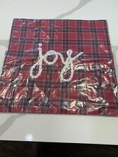 """Pottery Barn Plaid JOY embroidered pillow cover 20"""" square Christmas"""