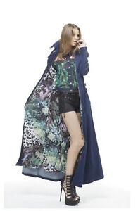 TOV Los Angeles Blue Denim Duster Jacket Maxi Dress womens size 38 S-M  NWT $238