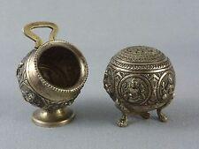 VTG Antique Silver Salt Cellar & Pepper Shaker / Hindu Religion Indian