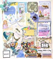 Junk Journal Kit, 50 Pieces, Quotes, Pictures, Bows, Scrapbook Papers, Die Cuts