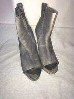 All saints Ladies Grey Leather Peep Toe Heels Zip Up Shoes Uk 3 Ref Ju01