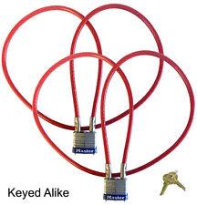 Motorcycle Helmet/Jacket Multi Use 3ft Cable Lock-Master Lock 719KA2 Keyed Alike