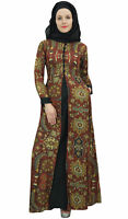 Bimba Women's Brown Long Sleeve Abaya Islamic Dress Maxi Gown Burqa With Hijab