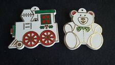 2 Vintage Cookie Cutters Painted Train Bear Ornaments Detailed Retro