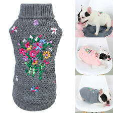 Dog Floral Sweater Pet Dog Puppy Coat Apparel Knit Clothes Warm Knitwear