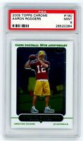 AARON RODGERS 2005 Topps Chrome Rookie Card RC PSA 9 Mint Green Bay Packers #190