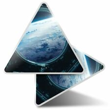 2 x Triangle Stickers 10 cm - Space Station Earth View Aliens  #24542