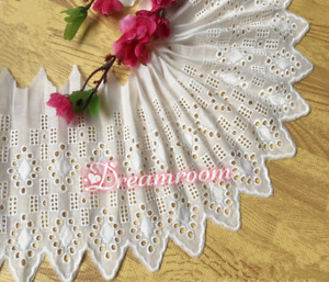 """1yd Delicate Embroidered Geometric Cotton Lace trim 6.2"""" Wide Sewing DIY B305"""