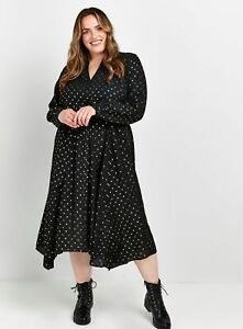 Evans Womens Black Sparkle Foil Hanky Hem Dress Polka Dot Loose Fit Fashion Gown