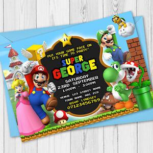 Personalised Super Mario Birthday Party Invitations - Super Mario Party Invites
