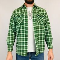 Vintage Flannel Shirt Men's Medium Green/White Check Long Sleeve