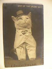"""CAT WEARING CLOTHES, TITLED """"One of the Smart Set"""" ROTOGRAPH  #B1244 RPPC"""