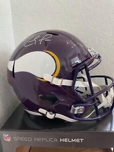 RANDY MOSS Signed Vikings Riddell Speed Replica Full Size Helmet - Schwartz