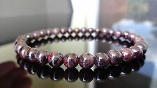 "Genuine GARNET bead bracelet for MEN (On Stretch) AAA Quality 6mm - 8"" inch"