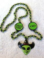 """Alien Cowboy"" Mardi Gras Bead ""Take Me To Your Leader-Y'All"" Roswell (B451)"