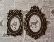 2 casa de muñecas grandes marcos ovalados Fantasía pinturas 1:12th escala Ornamento de imagen