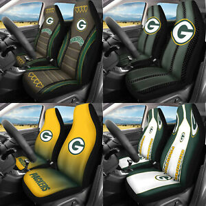 Green Bay Packers 2PCS Car Seat Covers Set Universal Auto Seat Protector Decor