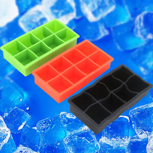 8 Giant Silicone Ice Cube ON Large Size Big Jumbo DIY Mold Square Tray Mould