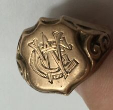"Antique 9ct Rose Gold Signet Ring Shield Face ""C W G"" Repair Size P 2.6g"