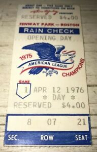 ⚾️4/12/1976 Boston Red Sox at Fenway Opening Day Ticket Stub🎫Fisk Career HR #72