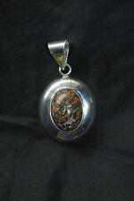 SILPADA - S0036 - Silver Oval Pendant with Leopard Stone - RARE!