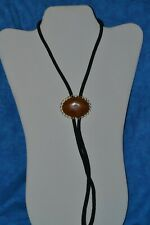 VTG Estate Jewelry Lariat Bolo Tie Black Cord Brown Marbled Polished Stone