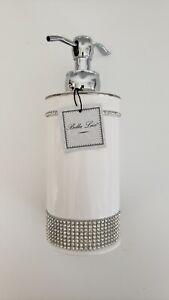 NEW Bella Lux White Ceramic Crystal Rhinestones Liquid SOAP DISPENSER PUMP Round
