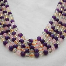 Grade A Natural Citrine Amethyst Prehnite Rose Quartz Mixed Gemstone Round Beads