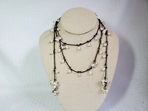 """Silpada Sterling Silver Pearl Lariat Necklace on Brown Cord 50"""""""