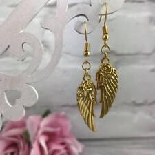 GOLD Feather EARRINGS Angel Wings DANGLE Drop Hook ROSE Vintage BOHO Spiritual