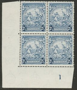 Barbados 1938-47 2½d Blue in Plate block SG 251a Mnh.
