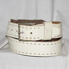 """Vintage white distressed Leather Belt size 38"""" & 1¾"""" Wide silver buckle"""