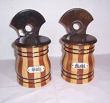 2 alte Küchen Vorratsgefäße Mehl & Salz Holz Porzellan Dosen Vorratsgefäß Deko