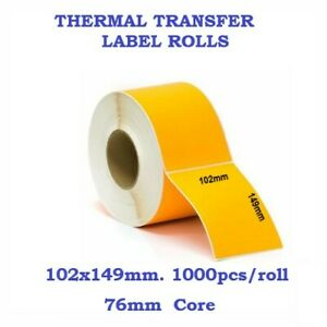 Thermal Transfer Sticky Yellow Label Rolls 102x149mm 76mm Core 5000pcs