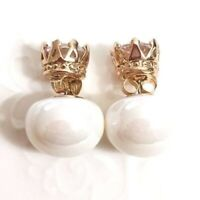 Large 14mm AAA White Pearl Stud Wedding Earrings Rose Gold Women Jewelry