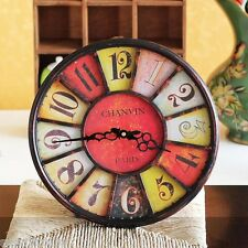 34CM Rustic Metal Antique Decorative Indoor Wall Clock Iron Retro Vintage- Red