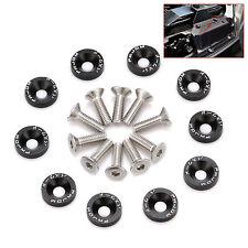 10 X BLACK JDM BILLET ALUMINUM FENDER/BUMPER WASHER/BOLT ENGINE BAY DRESS UP KIT